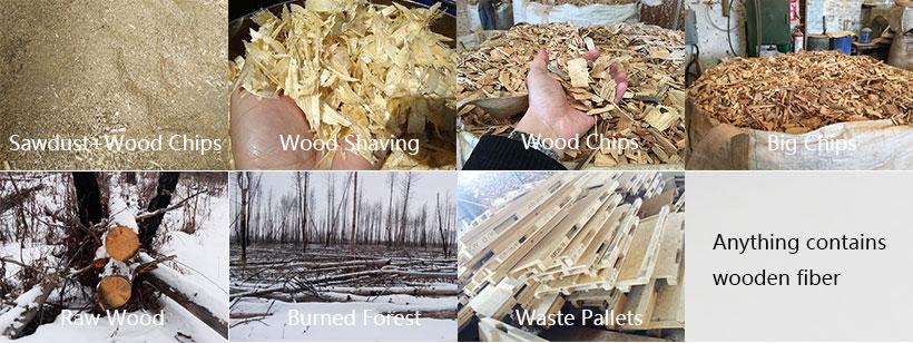raw materials of sawdust wood pallet machine
